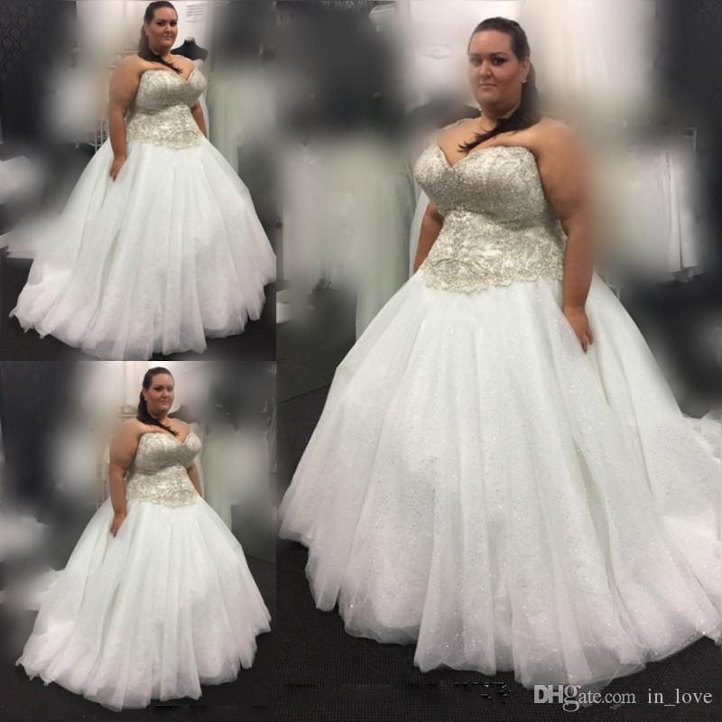 Ball Gown Plus Size Wedding Dresses 2019 Sweetheart Neckline Appliques  Sequined Tulle Floor Length Bridal Gowns Lace Up Back Vestido De Nova  Pretty ...