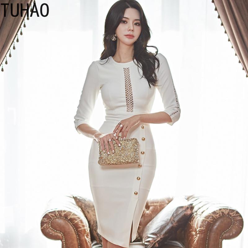Dress tuhao Office Lady vestito sexy Donna Primavera Estate 2020 Bianco scava fuori elegante vestiti dalla matita del partito della donna Abbigliamento WM30