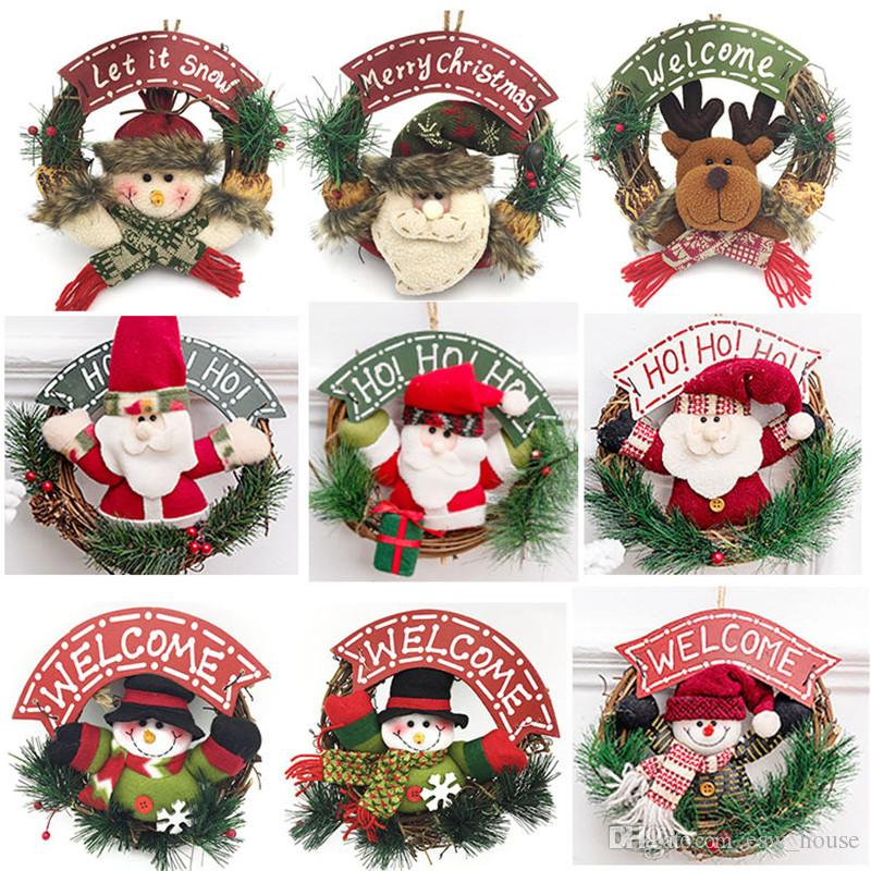 Noël rotin bois Couronne poupée portes suspendues décoration guirlande guirlande de Noël Père Noël bonhomme de neige Elk Hanging Décor