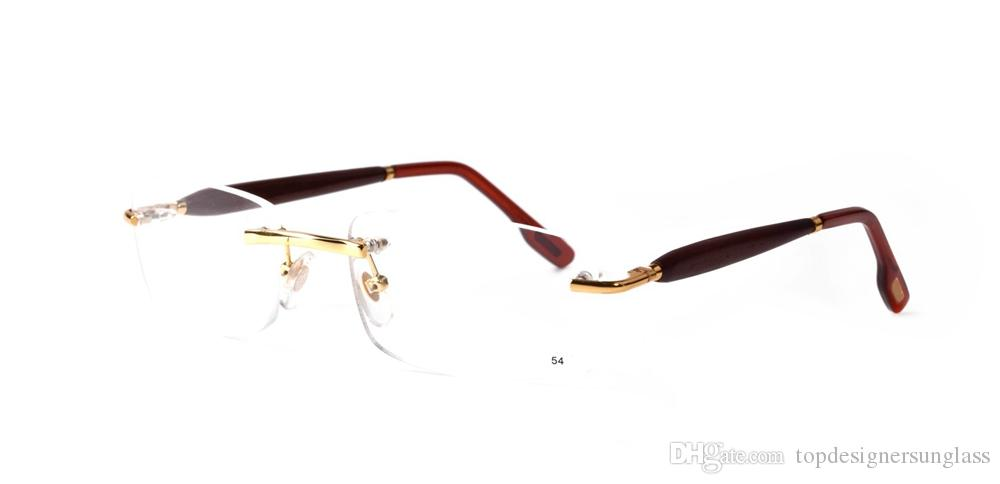 Fashion sunglasses designer brand rectangle square eyeglasses hand buckle rimless round wood bamboo buffalo horn glasses with red box