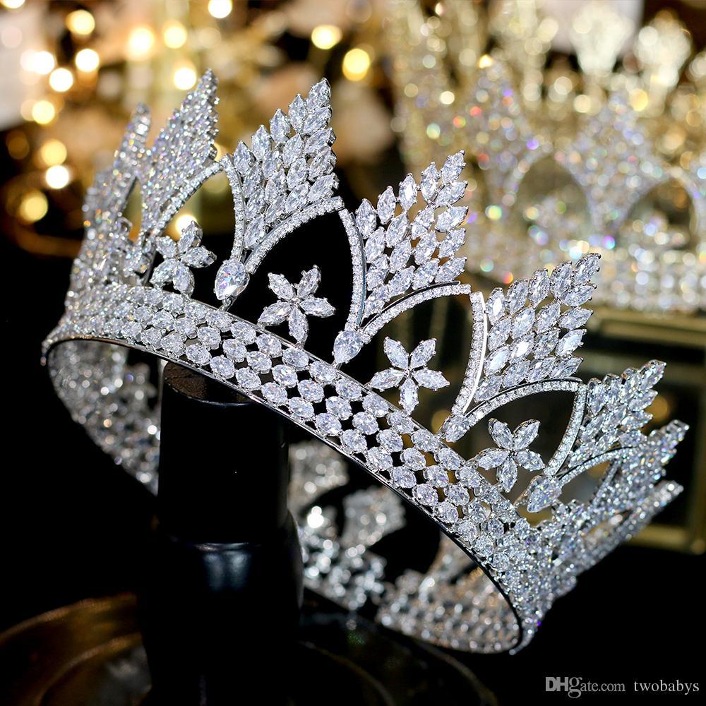 Retro luxo prata cocar redondos grandes coroas noiva acessórios para o cabelo coroa rainha de acessórios do casamento penteado