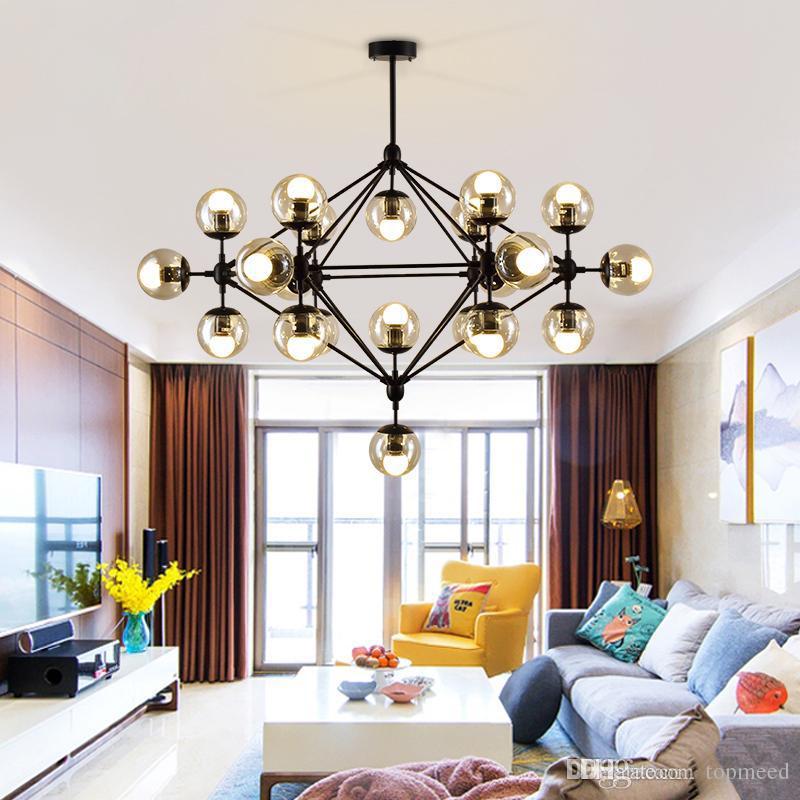 مصمم غلوب أضواء الثريات لغرفة المعيشة أسود / ذهبي مصباح الثريات الجسم مع خيارات اللون زجاج المطبخ الإنارات