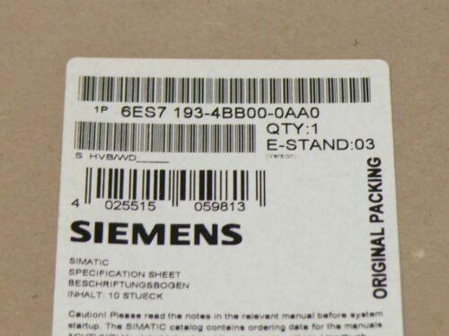 Neu Siemens 6ES7 193-4BB00-0AA0 / 6ES7193-4BB00-0AA0 / 2XV9450-1SL03-0YX0