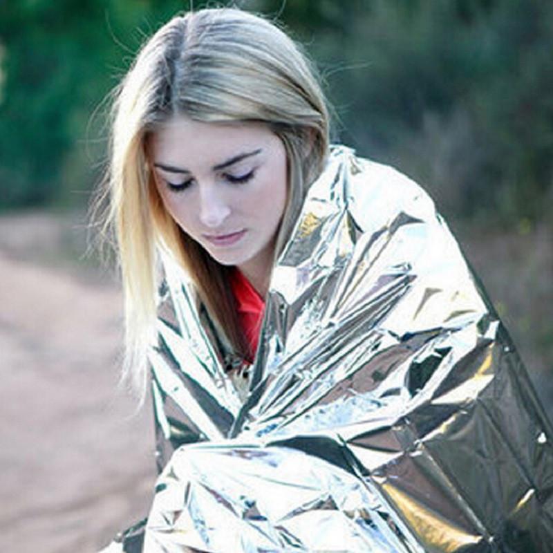 130x210cm WaterProof Blanket Survival Resgate de Emergência Foil Ferramentas térmica Espaço First Aid Sliver Resgate Cortina externas