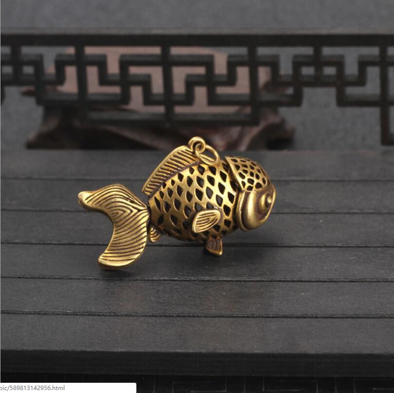 Chinese pure brass goldfish small pendant