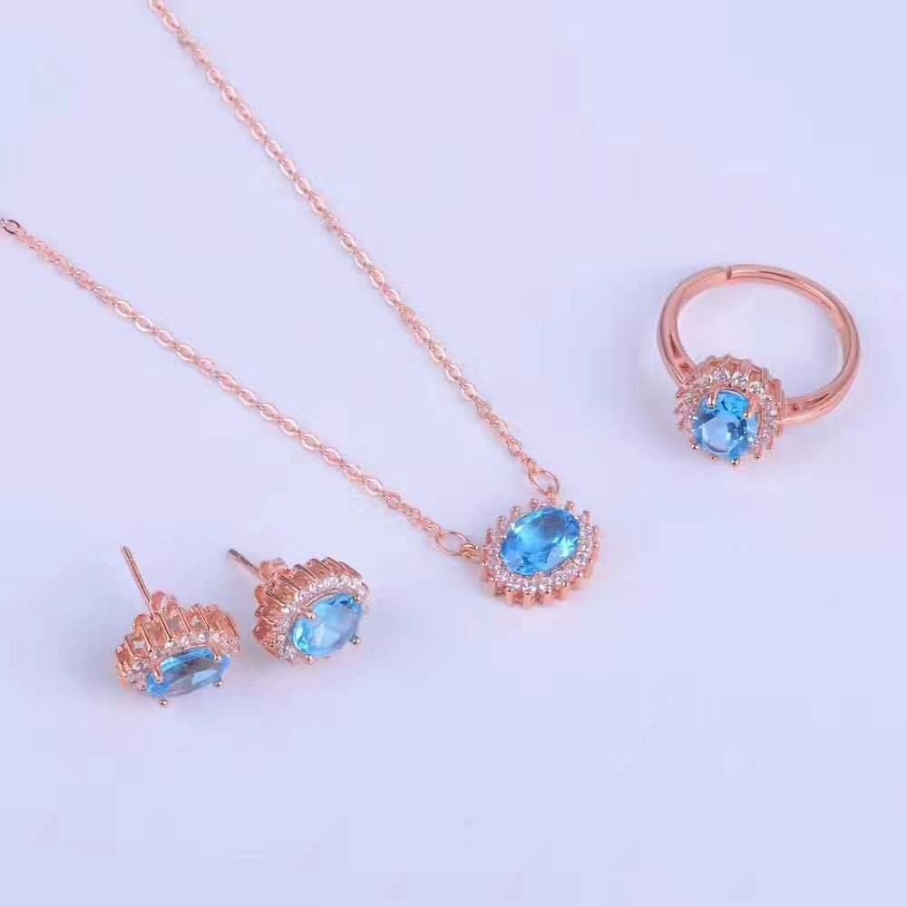 Doğal topaz yüzük küpe kolye kolye seti + 925 gümüş platin mücevher ücretsiz nakliye set