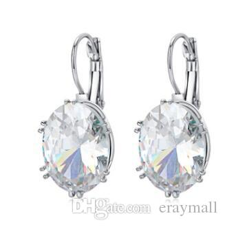 Beyaz kristal Topaz Damla Küpe Zarif Taş Düğün Nişan Takı Kadın Hediyeler Için mavi renkler 965