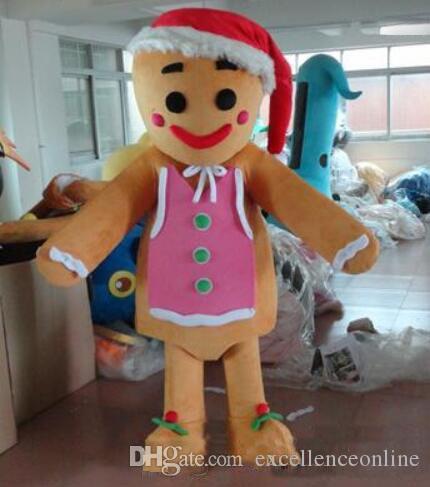 Горячие продажи пряничный человек костюм талисмана мультфильм костюмы партии костюмы необычные платья костюмы