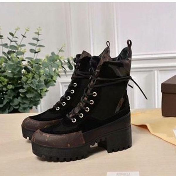 2020 di qualità di Hight nero Patchwork Gladiator Lace Up Stivali Donna punta rotonda della piattaforma tacco grosso Donne Stivaletti Scarpe Donna
