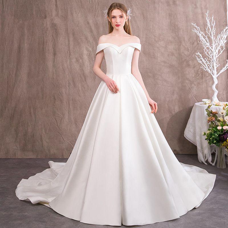 짧은 소매 새틴 비치 웨딩 드레스 오프 어깨 2020 스윕 열차 신부 가운 높은 허리 신부 드레스