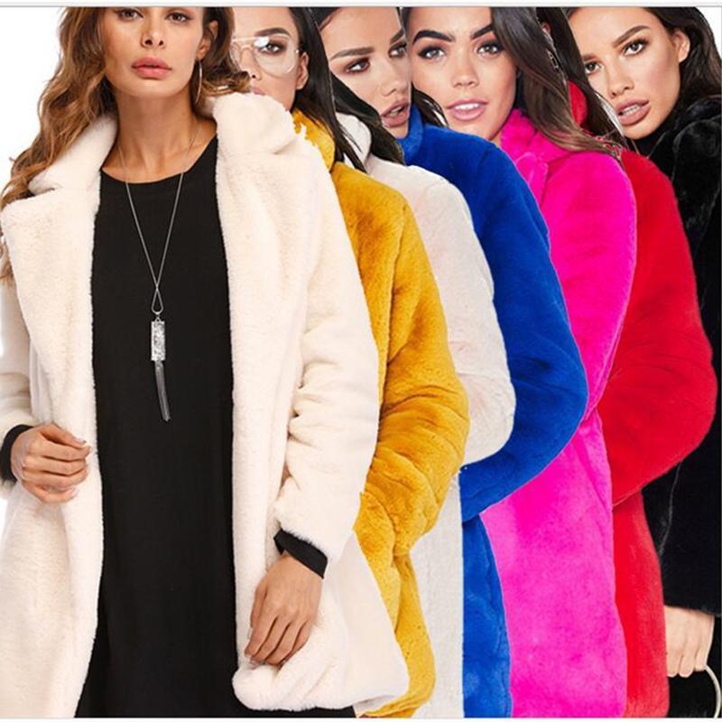 Faída femenina Faux Talla grande 4xl Abrigo de invierno otoño Mujeres 2021 Moda espesa de manga larga femenina sólida suave pelusa chaquetas N362