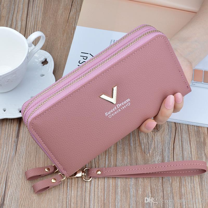 Double portefeuille main à glissière 2019 nouveau portefeuille long mode grande capacité à double téléphone portefeuille petit sac de femmes