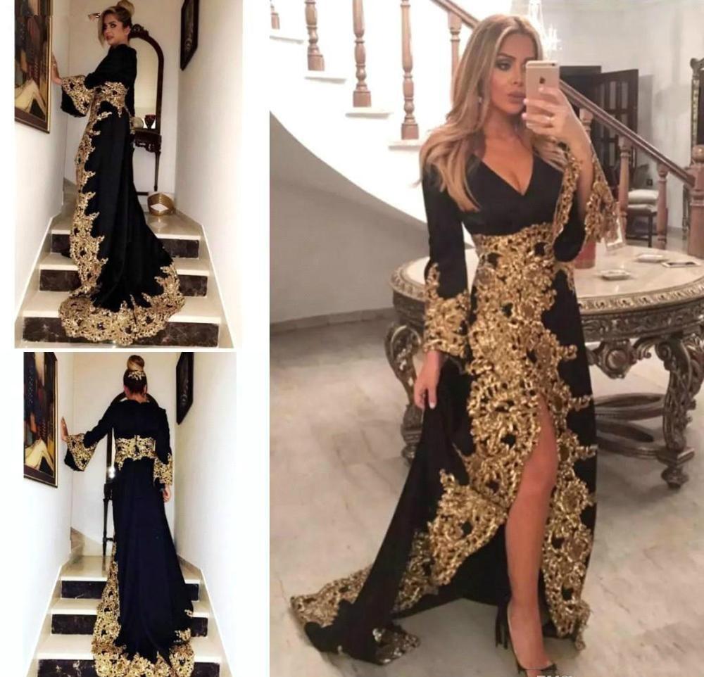 Pırıltılı Altın Dantel Akşam Robe Elbiseler 2020 Siyah Seksi Uzun Kollu Yüksek Yarık Parlak Aplike Tatil Giyim Balo Parti Elbise