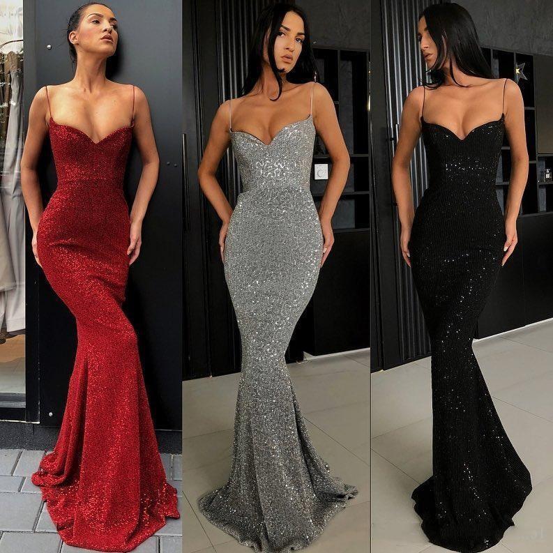Argent Prom Sexy Robes pleine Paillettes bretelles spaghetti sirène longue soirée Robes Plus Size Custom Made manches Pageant Robes BC0274