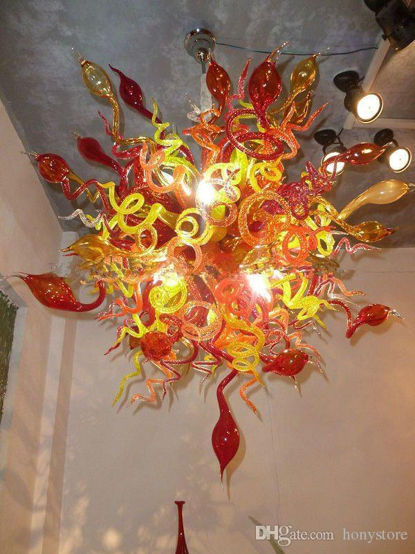 Red Murano Vidro Chandelier LED Saving Fonte de Luz Estilo Popular vidro barato casamento Light Chandelier