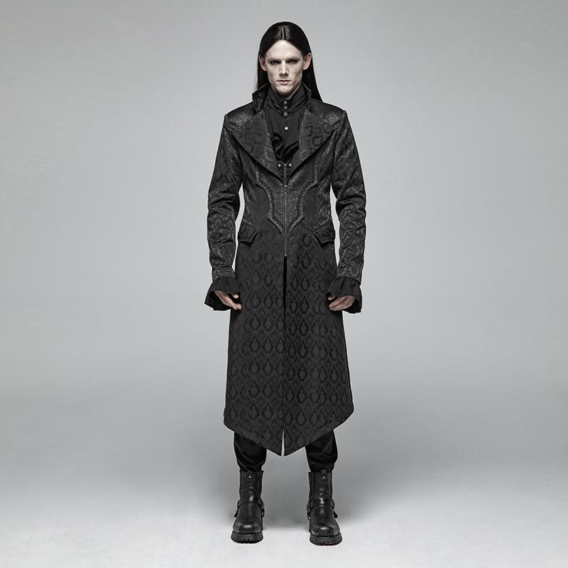 PUNKRAVE Мужская Gothic жаккарда средней длины пальто ретро Slim Fit стенд воротник молния кардиган куртки