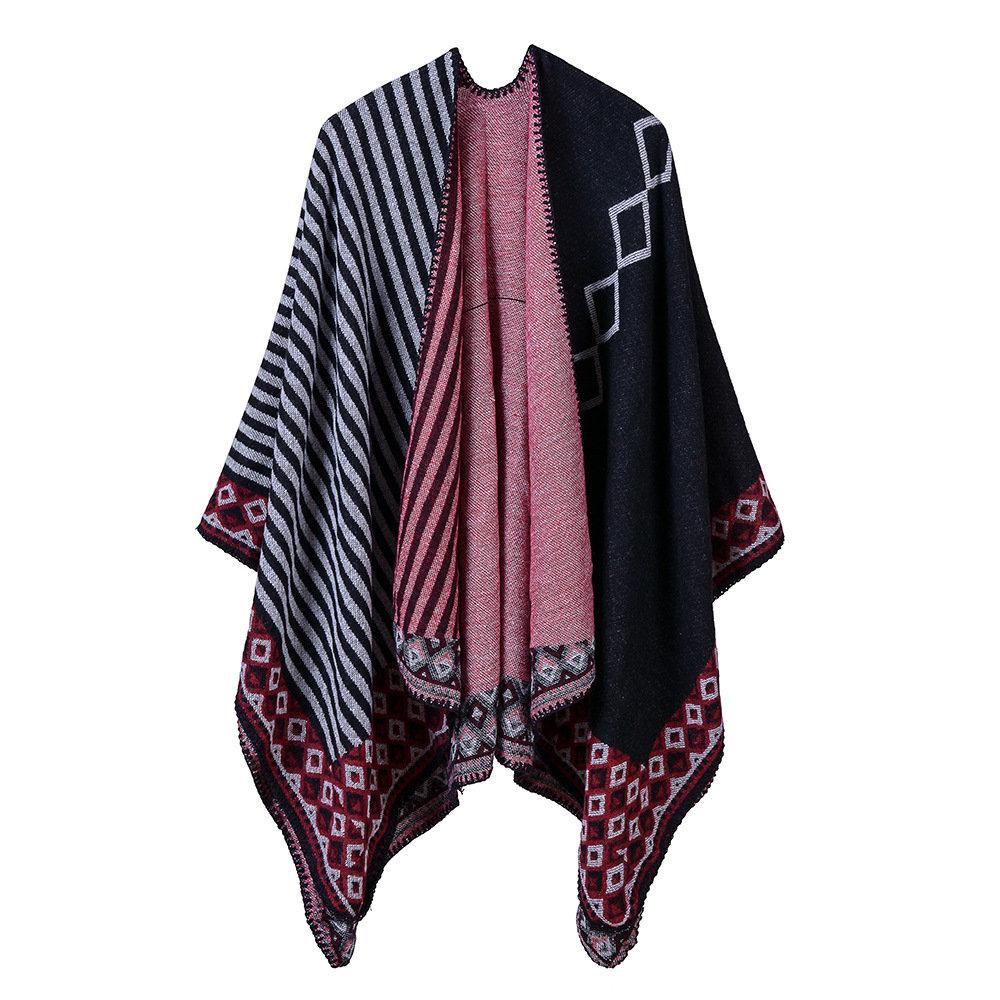 خمر سيدة Imitaiton الكشمير الباشمينا الجديدة الدافئة شالات الخريف والشتاء المشارب المعين الهندسية والأوشحة والأغطية