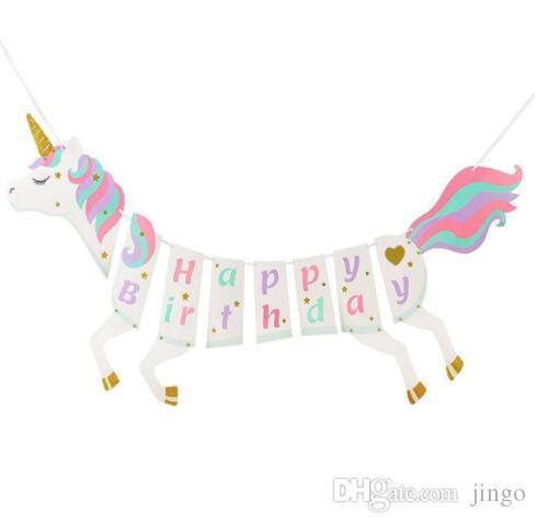 DHL Unicorn Paper flag Happy Birthday Banner Wedding horse flag Kids Children Baby Bunting Adult Favors Supplies Party Decorations NN