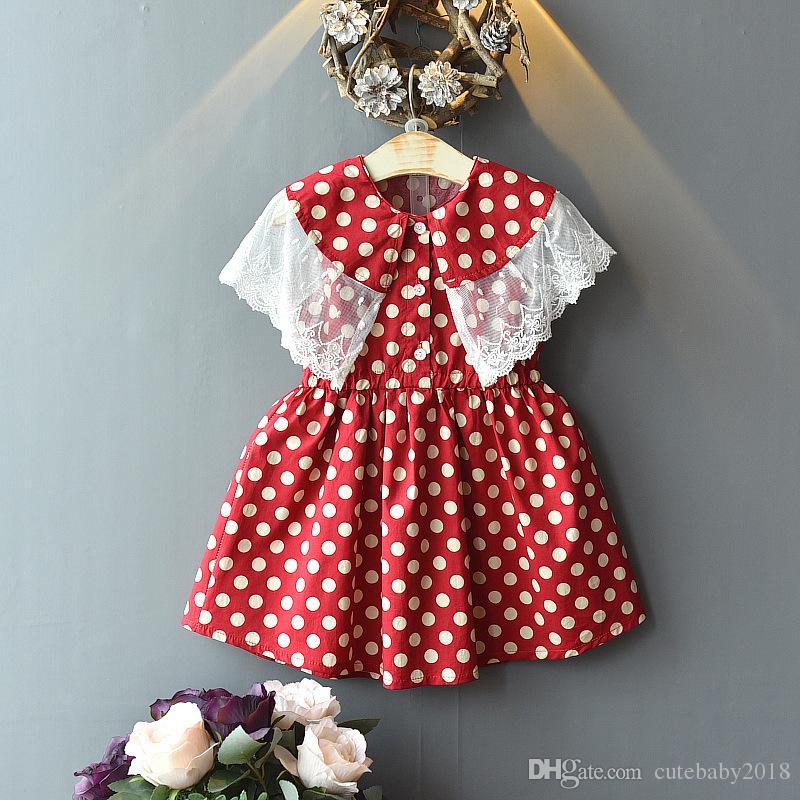 Crianças Designer Roupa para meninas Vestidos 2019 Moda crianças Verão Girl Dress Cotton Polka Dot Girl Dress Princess Dress Partido Crianças Meninas