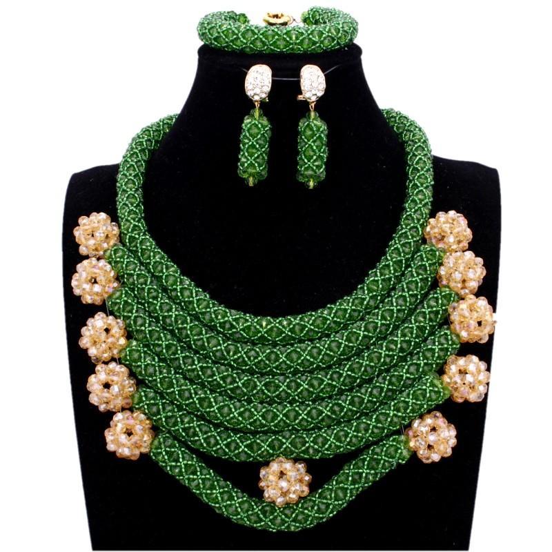Dudo Set Jewelry Crystal Hunter Green And Gold Balls Necklace Bracelet Earring Set Layers Wedding Jewellery Set Bridal Women New