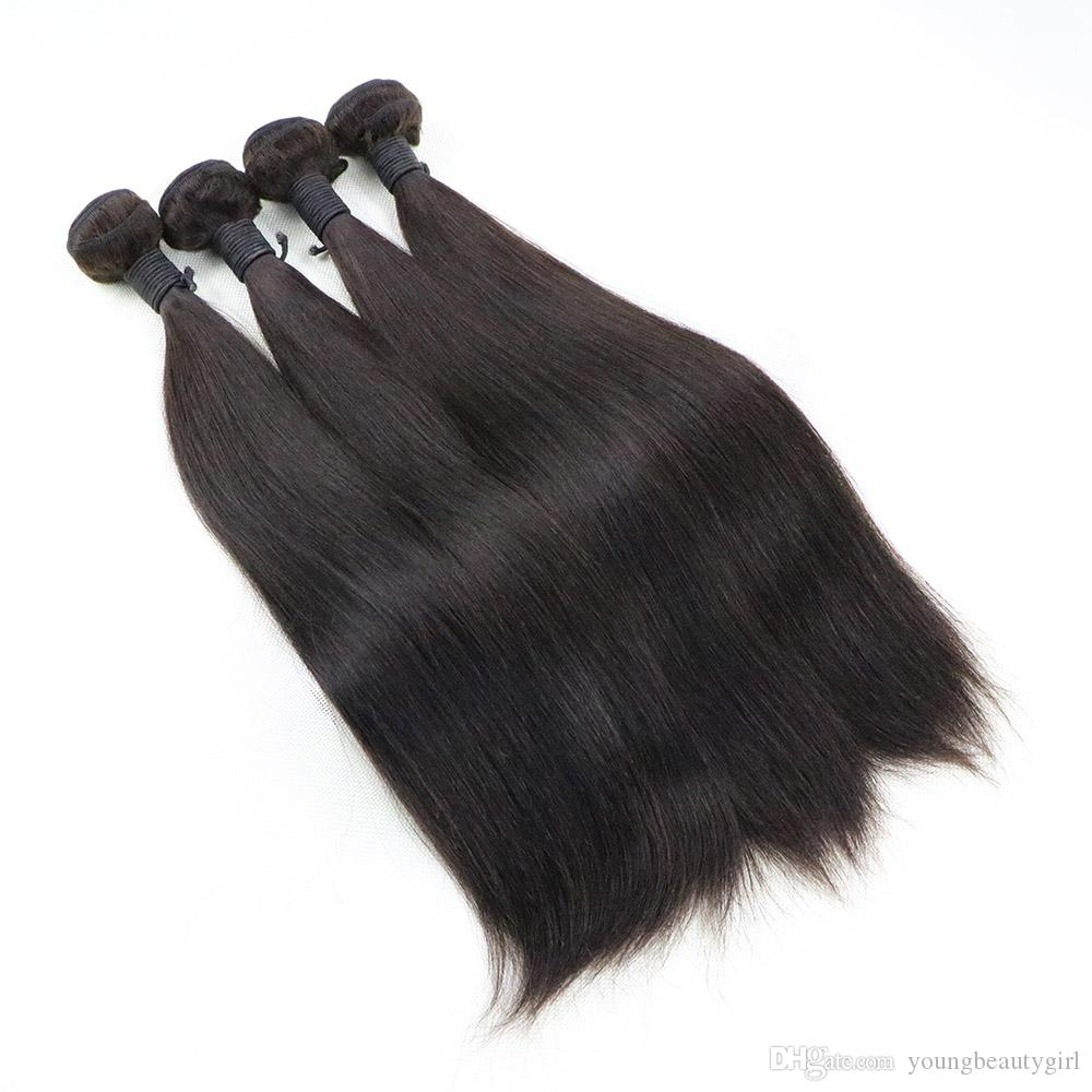 Silky Straight Unprocessed Virgin Peruvian Hair Weave Weft Medium Brown Human Hair Weaving Extensions 4 Bundles Deal