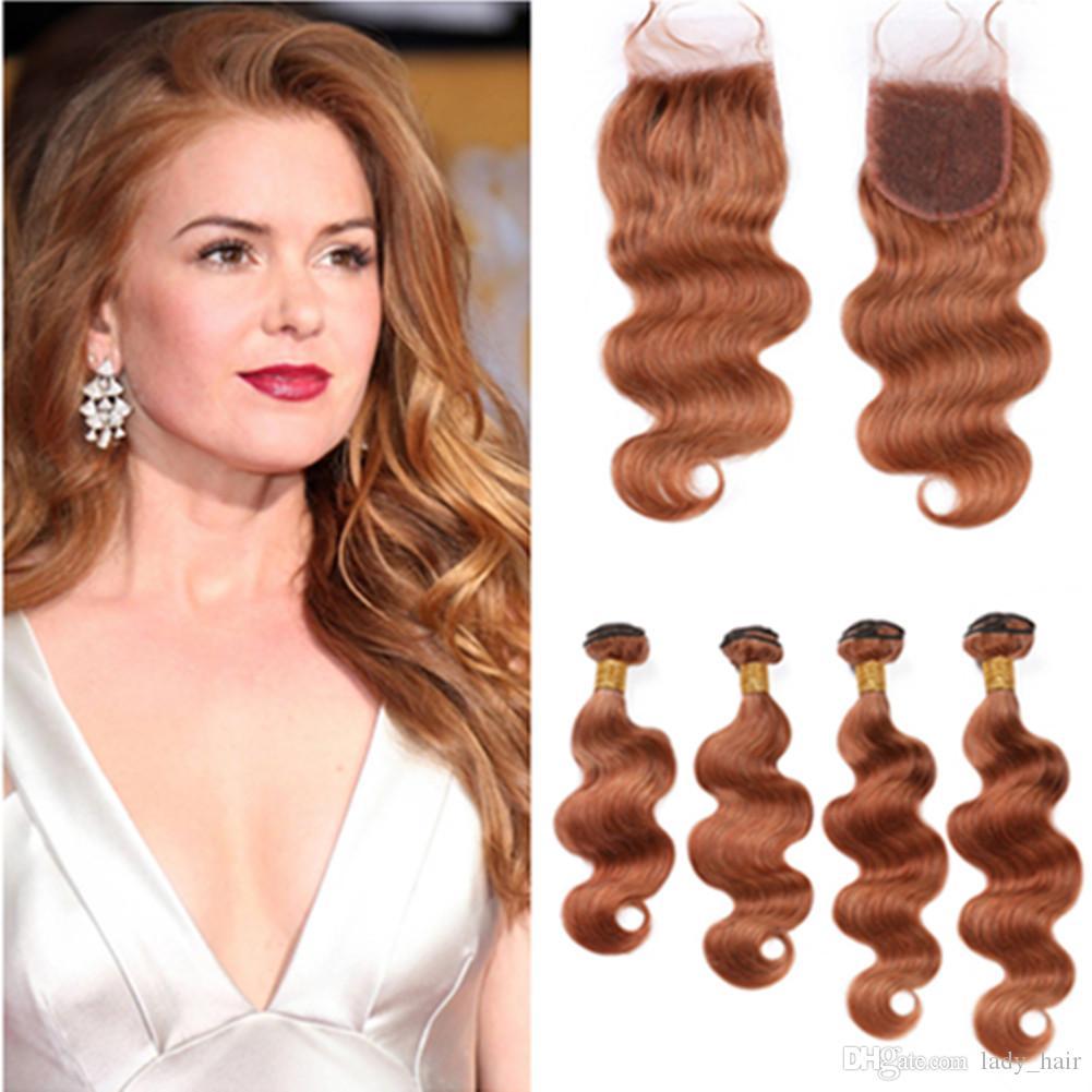# 30 Medium Auburn человеческих волос 4Bundles с Closure Бразильский Объемная волна переплетений Virgin Auburn Наращивание волос с Lace Closure 4x4