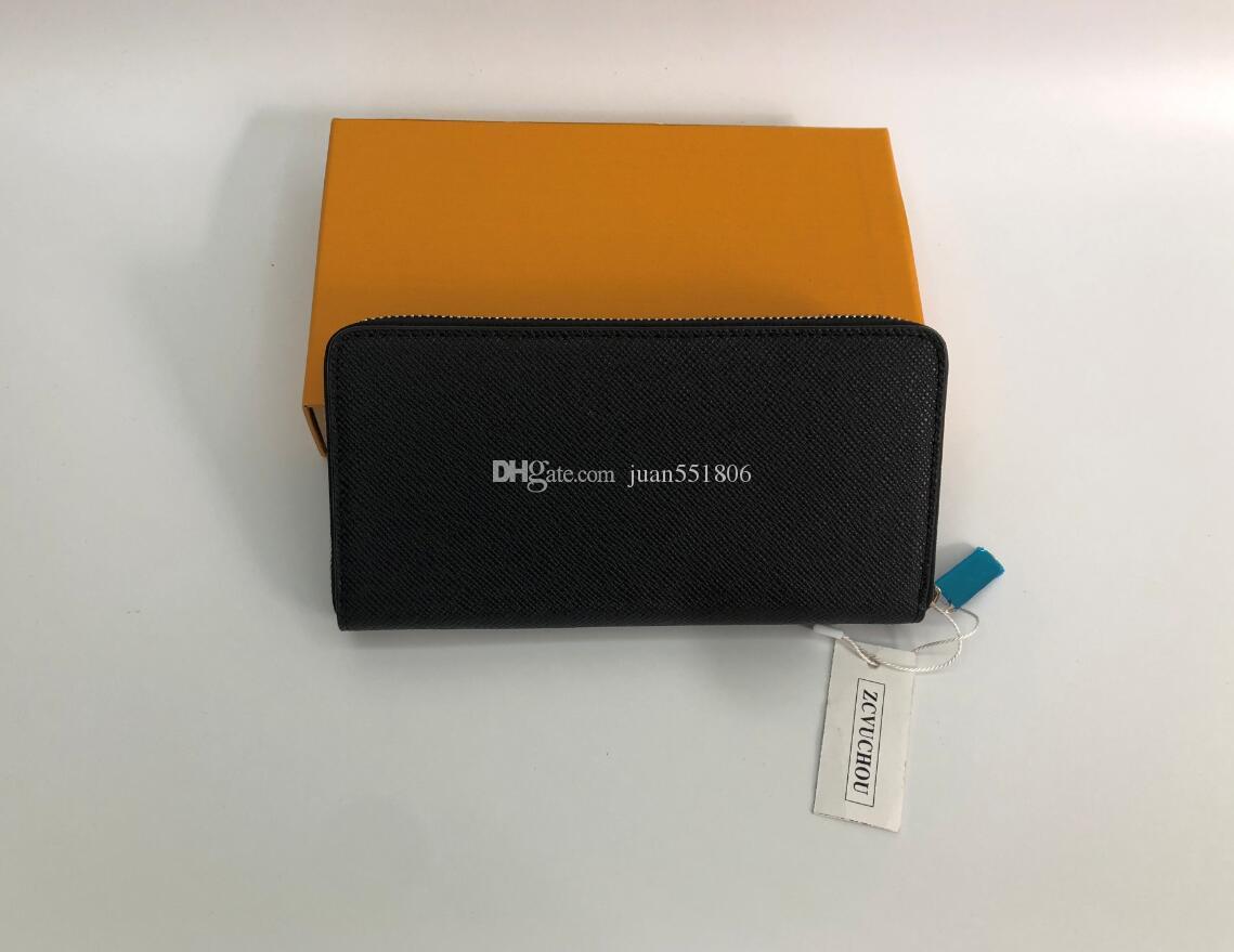Spedizione gratuita! Pochette da stilista Portafoglio in vera pelle con scatola arancione, tessera sacchetto polvere con numero di serie 60017