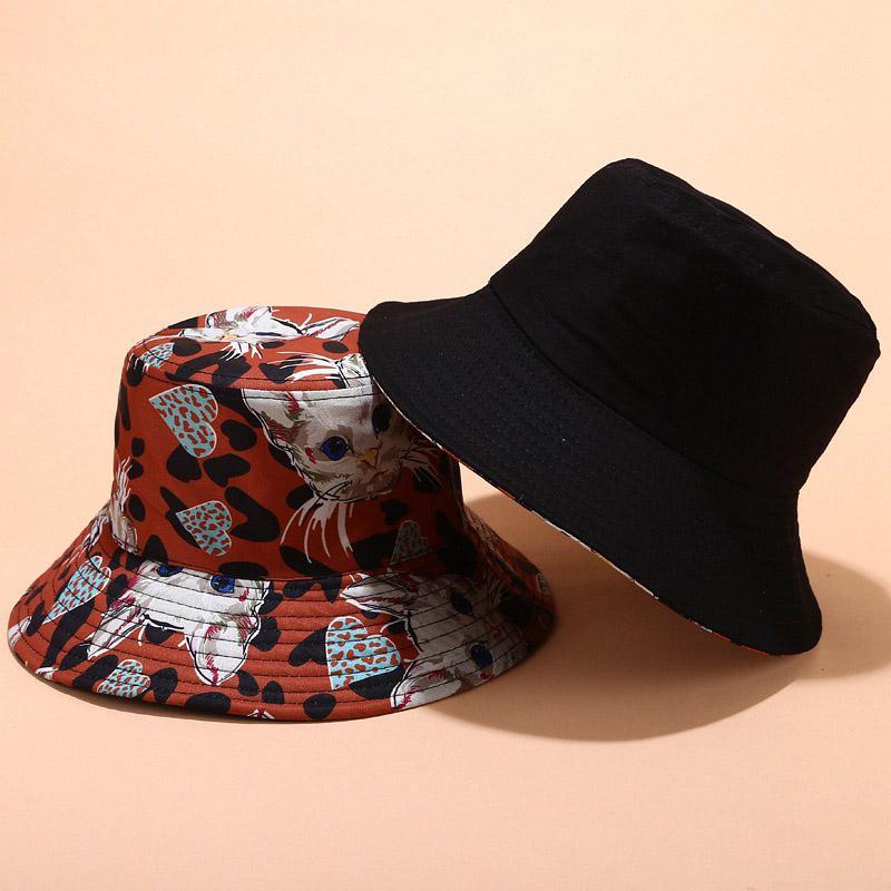 Симпатичные женщины Bucket Hat Summer Casual мультфильм шаблон Печатные Открытый Sun Предотвратить Шляпы Женский Солнцезащитный Bucket Hat