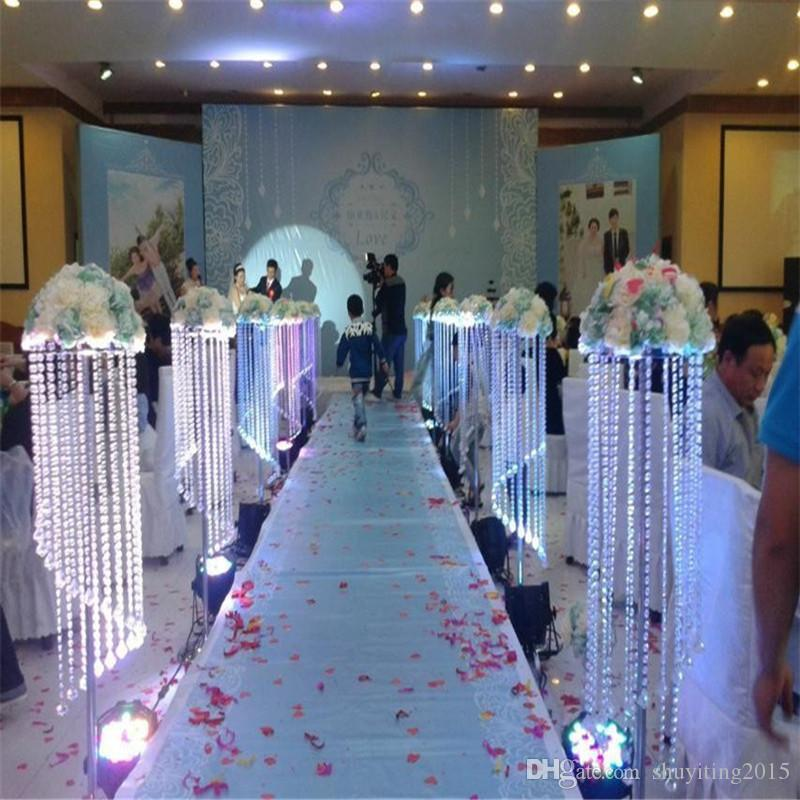 120cm 48inch height Acrylic Wedding Centerpiece Crystal Pillar Flower Stand aisle walkway Metal Pillar Road Lead photo props