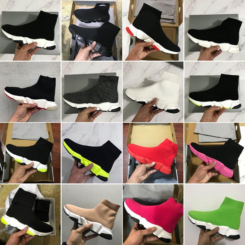 2020 Yeni Hız Eğitmen Çorap Moda Ayakkabılar Üçlü Siyah Yeşil Çizme Kırmızı Düz Erkekler Kadınlar Günlük Ayakkabılar Spor Sneakers ile Kutu Toz Torbası