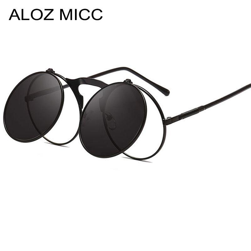 Donne Micc de Newest Sol Round Female Uomini Flip Punk Metal Glasses Up Vintage Occhiali da sole Occhiali da sole Oculos Aloz Sun A025 KFTHC