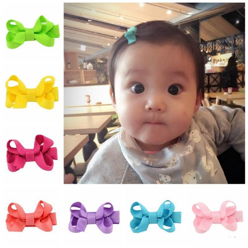 Bow Hairpins Ribbon Lined Bows with Clip Solid Baby Girl Hairgrips Whole Wrapped Safety Hairclips Fashion Hair Accessories 20 Color