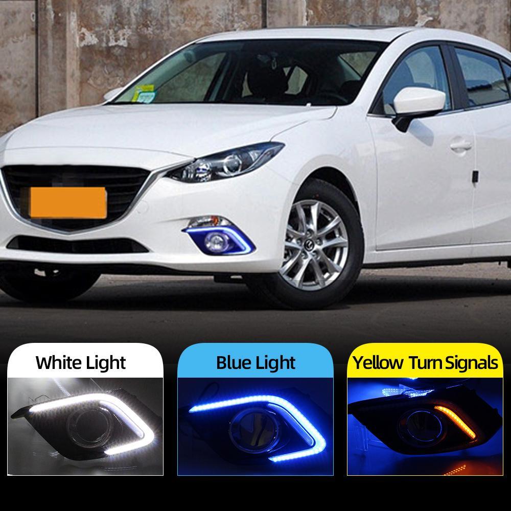 2pcs DRL Para Mazda 3 Mazda3 Axela 2014 2015 2016 LED DRL luzes diurnas Daylight Nevoeiro tampa da luz