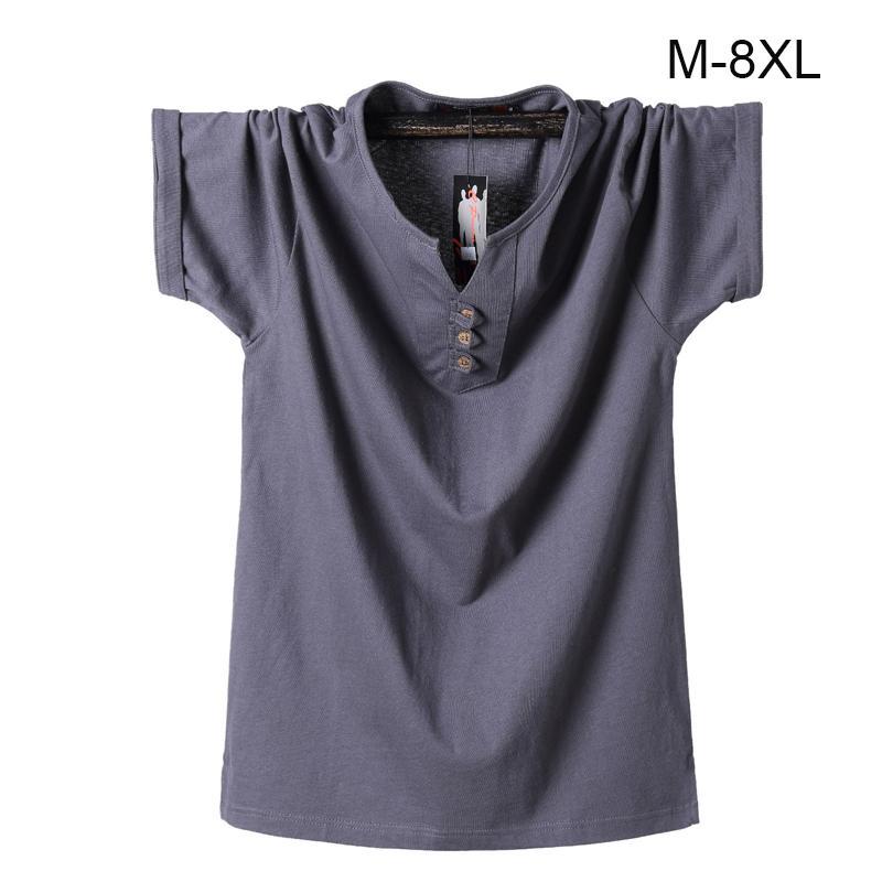 Мужская футболка Большой размер 6xl 7xl 8xl 2019 Летняя хлопковая футболка Мужская футболка с v-образным вырезом Твердые мужские футболки Топы Футболка с коротким рукавом Футболки Y19050701