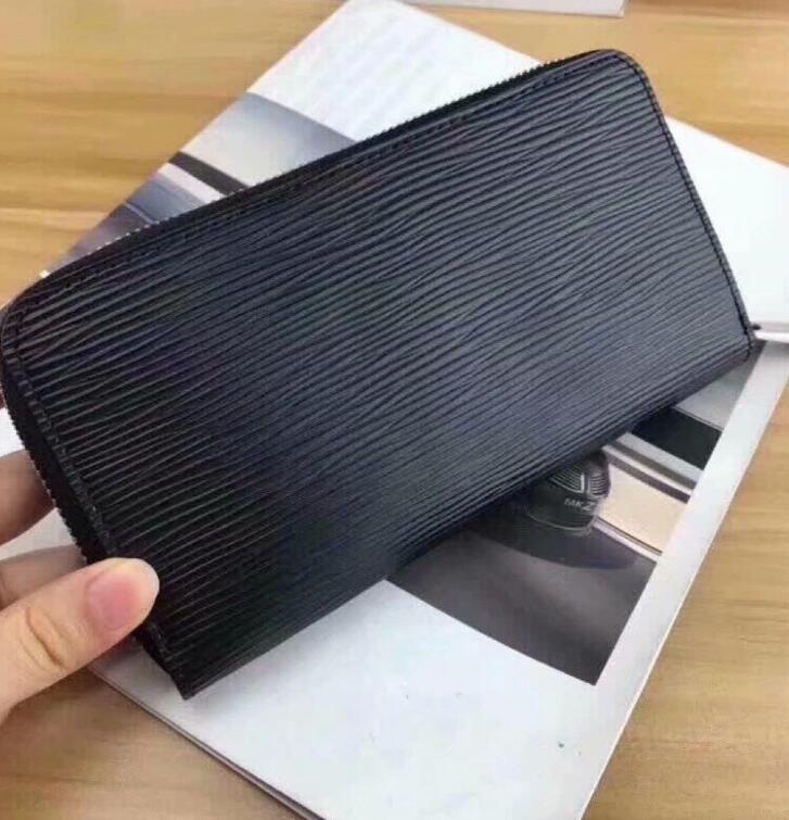 tarjetas y monedas cremallera cartera de moda para hombre famosas carteras de tarjetas de crédito Monedero de cuero de la moneda del sostenedor mujeres monedero de la cartera largas de las carpetas con la caja