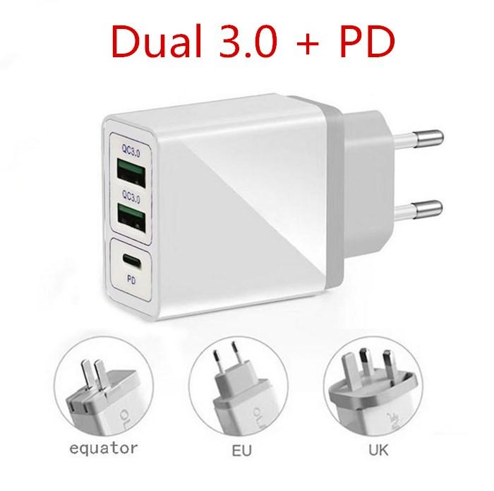 QC 3.0 + PD veloce caricabatterie US EU UK 5V 2A rapida ricarica iPhone Travel Adapter per Samsung Huawei Android Pad Plug