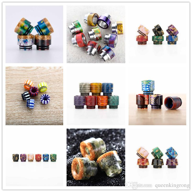 Top 810 Glass Ceramic Resin Drip tips Wide Bore Dripper tip Mouthpiece 11 Styles Choose For E Cigarette Tank RBA Atomizer Vape Mod RDA Gift