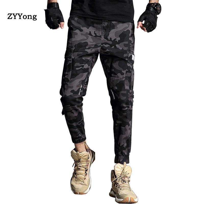 Новые камуфляжные бегуны Мужские брюки-карго мужские армейские зеленые / темно-серые брюки из чистого хлопка Мужские брюки-карго с карманами