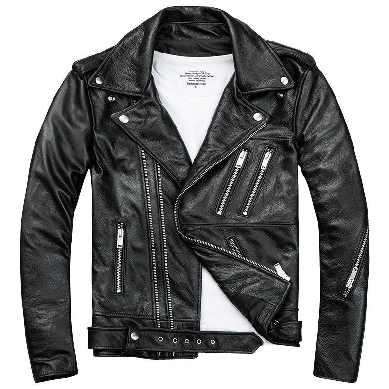 Hommes Black Biker Cuir Vestes Manteaux Double Zipper Diagonal Cacheur Cowhide Slim Fit Manteaux Moto Courts Mâle Haut