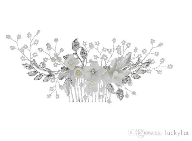 3pcs / lot hot top qualité nouveaux cheveux jewely populaire hairband head peigne diadème en céramique peigne de fleurs peigne de mariage bijoux de mariée bijoux expédition de baisse