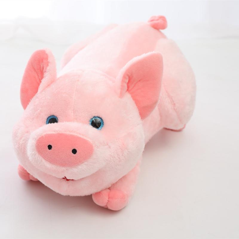 Pig Plush Pigglet Lifelike Stuffed Animals, Sparkling Crystal Style Blue Eyes, Laying as a Fluffy Pillow/17.7inch Betina Pink Plushie Toys