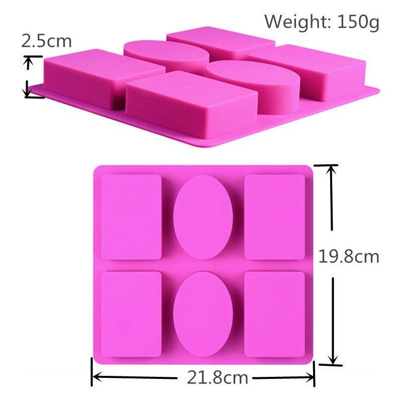 Mold Savon silicone pour BEAU-Making 3D 6 formes ovales rectangle moule à la main Artisanat Fleurs cuisine salle de bains