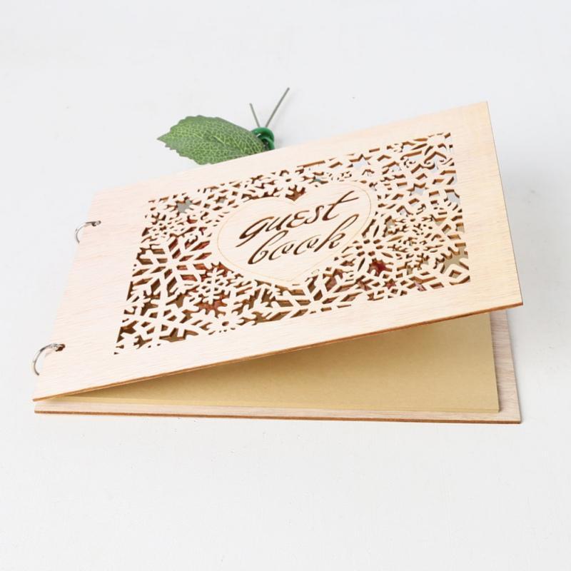 Casamento Forma Signboard Coração Suprimentos da festa de Livro de Convidados Notebook de madeira