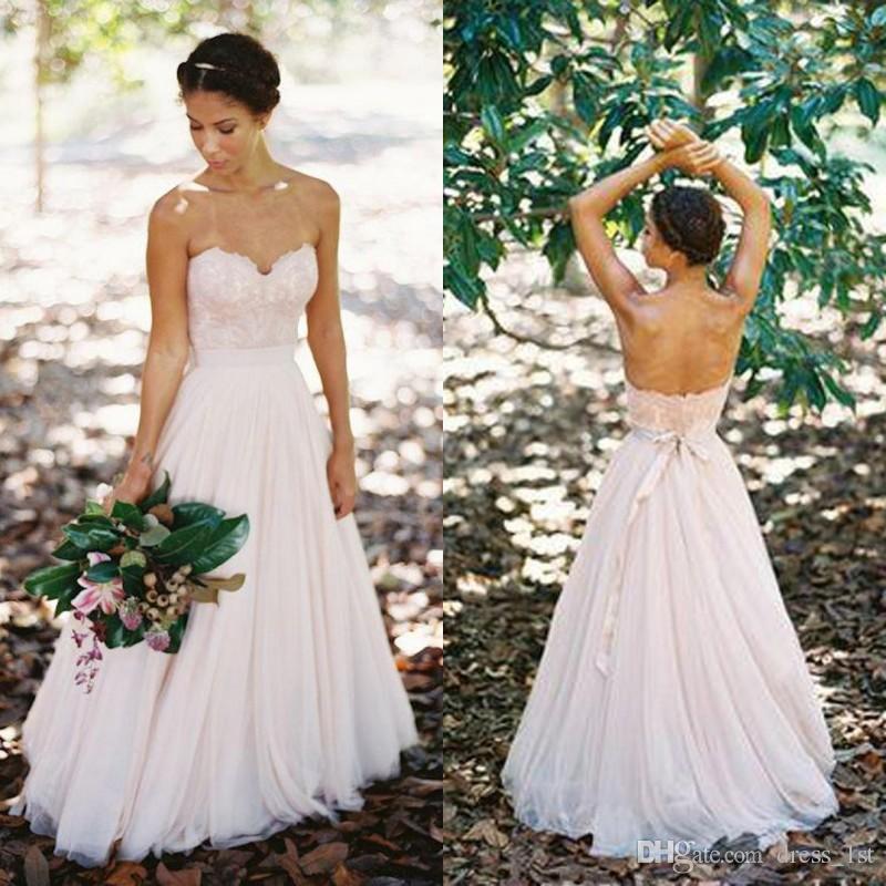 Elegante 2019 Nuevo diseño País Vestidos de novia con marco Escote de novia Una línea de longitud de piso de encaje apliques blusa de tul vestidos de novia