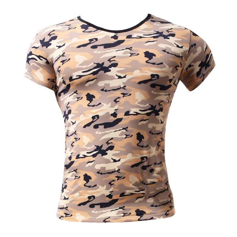 Homens Camo T-shirt Stretchy Camiseta Camuflagem esporte camiseta S-XL