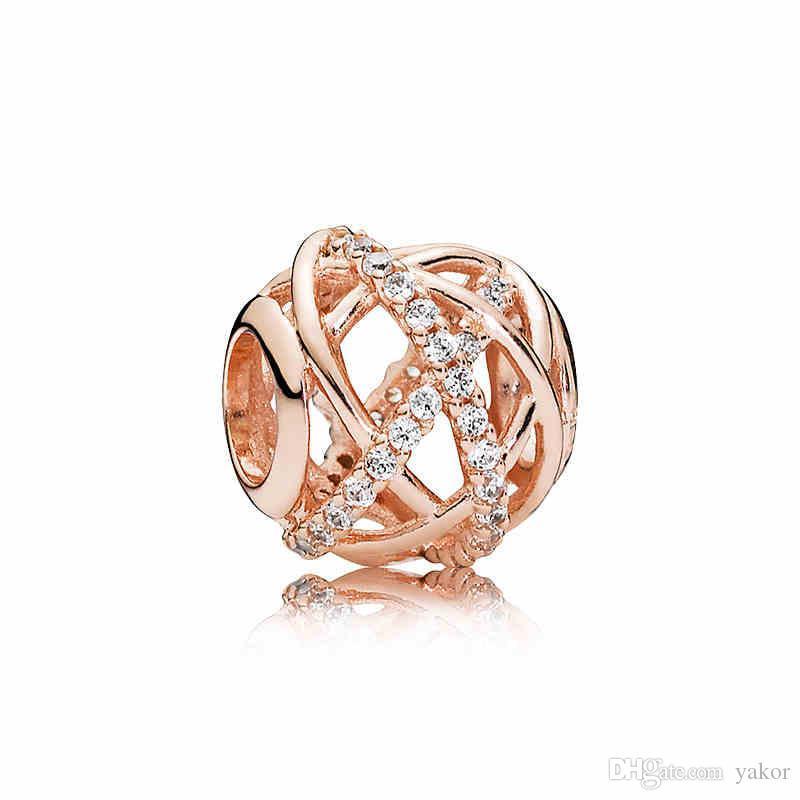 Luxus-18K Rose Gold-Höhlen wurden Galaxy Charm Set Original Kasten für Pandora DIY Armband CZ-Diamant-Korn-Charme Schmuck Zubehör