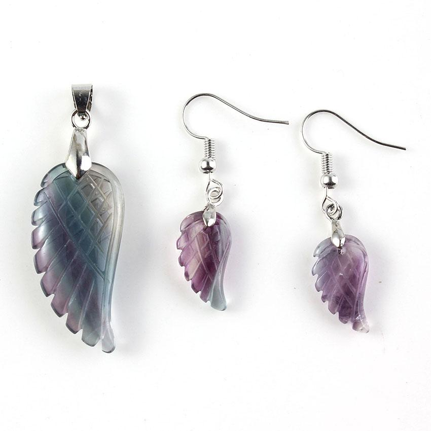 Wholesale 5 pcs Silver Plated Angel Wing Fluorite Stone Pendant Classic Style Necklace Drop Earrings Lapis Lazuli Jewelry Sets