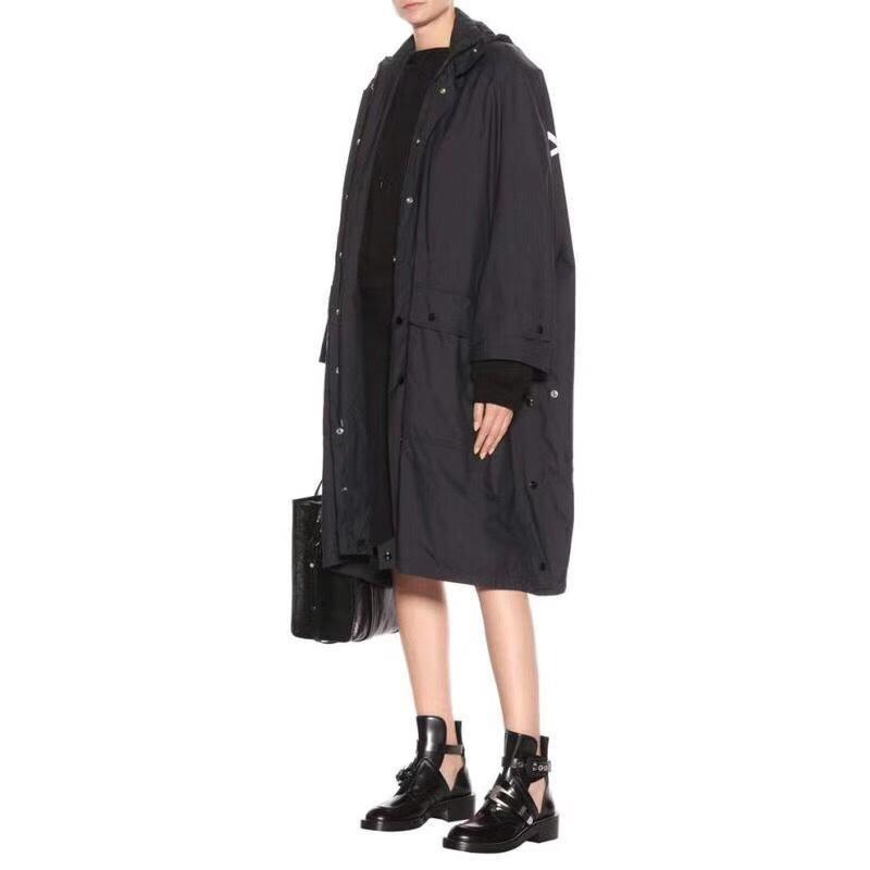 Moda-18SS B1CJ Harf Logo Uzun Trençkot Retro Sokak Rahat Lo Ve Kadınlar Lover Siyah Windproof Ceket Kaban HFSSJK040