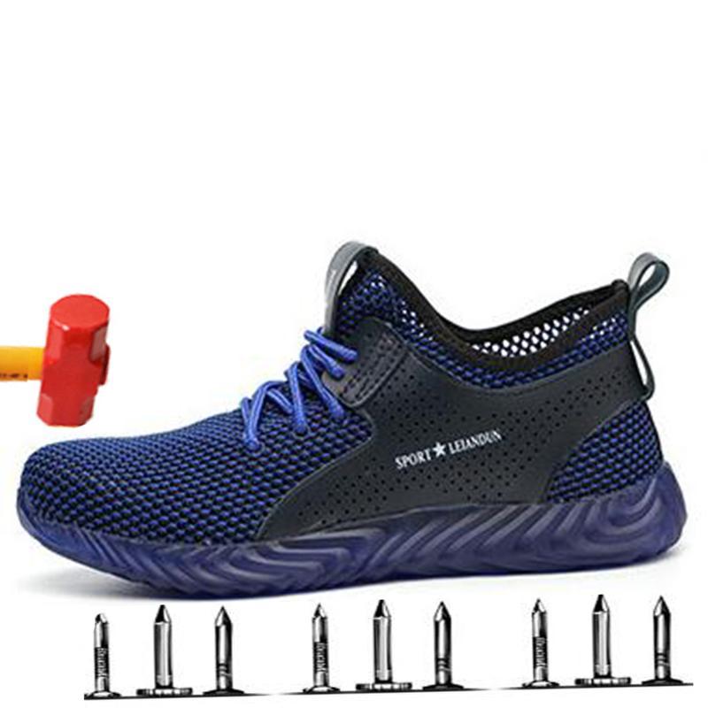 Parte inferior suave zapatos cómodos seguro de trabajo del dedo del pie respirable Desodorante los hombres de acero zapatos de seguridad Cap antipinchazos Botas de Trabajo