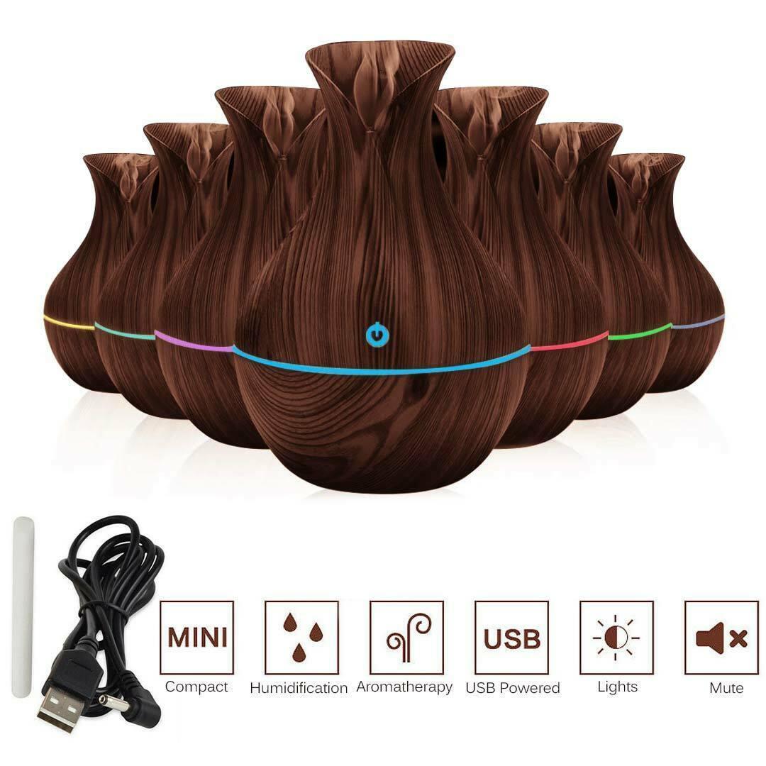 من الضروري النفط الناشر العبير الروائح 7 لون LED بالموجات فوق الصوتية المرطب تنقية الهواء المرطب USB آلة المنزل الروائح